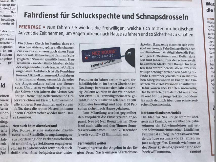 Berner Landbote - Pressebericht Berner Landbote