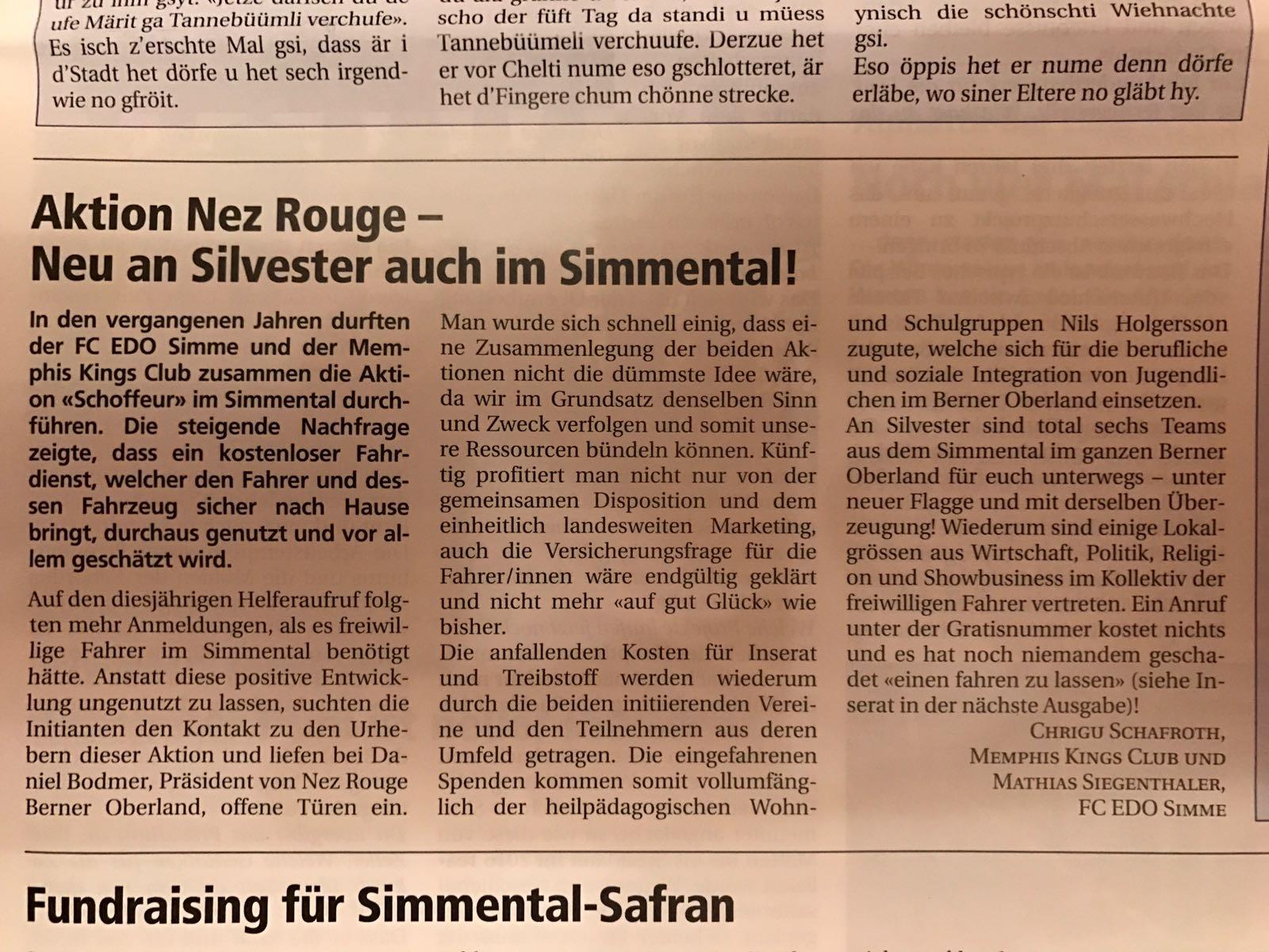 Simmentaler Zeitung 21.12.2016 - Pressebericht Simmentaler Zeitung