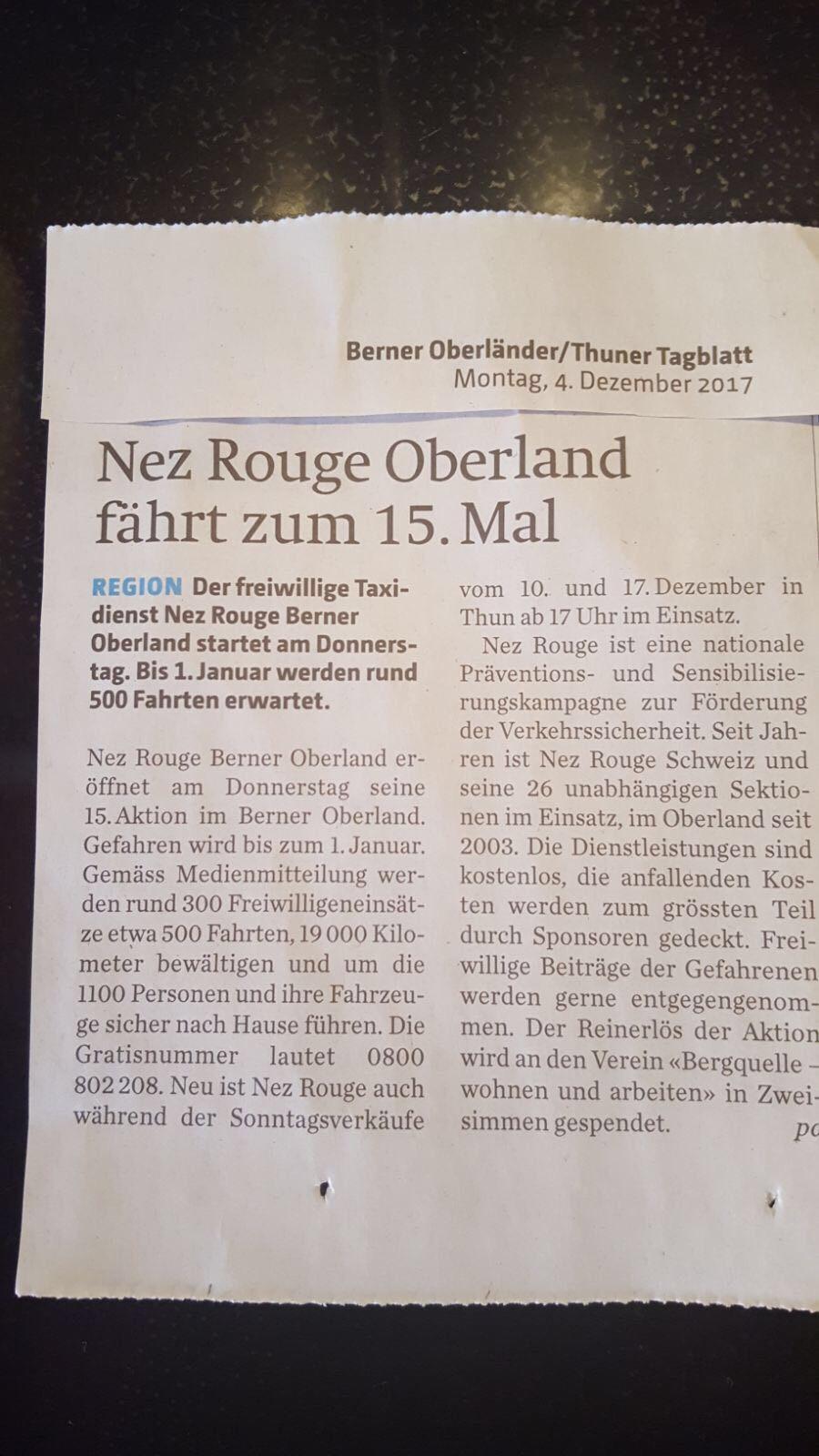 Thuner Tagblatt 4.12.2017 - Pressebericht Thuner Tagblatt